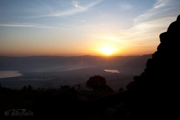 solnedgang mot Ngorongorokratern